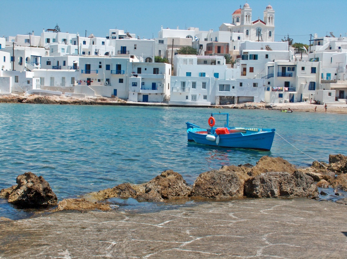 'naousa paros boat blue holidays summer greece hellas' - Paros